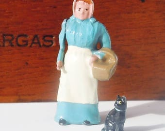 Toy Farm Figures from a Toy Soldier Company / Britains' Ltd London /  Mrs Patmore with a green eyed cat
