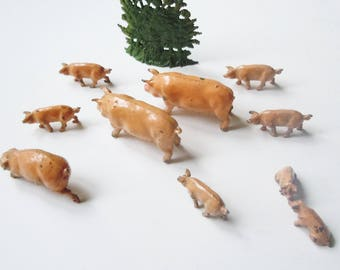 Toy Farm Pigs  / JoHillco  / Pastural Tabletop Landscape / Boar, Sow,7 piglets,  and small shrubbery