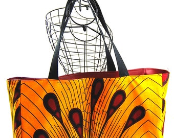 """Burgundy faux Tote and """"Red Feather"""" wax fabric"""