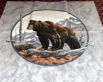 Bears and Wolves/Wolf Print Cotton Quilt/Quilting Fabric Panels for Pillows~Set of 3 and Backing Fabric~Cranston VIP Print