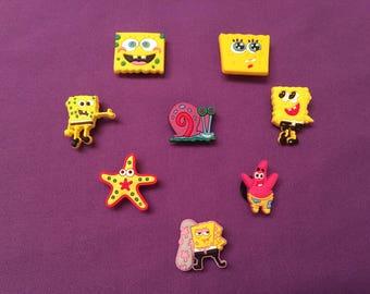 8-pc. Spongebob SquarePants Shoe Charms for Crocs, Silicone Bracelet Charms, Party Favors, Jibbitz / Spongebob and Patrick Necklaces