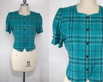 S A L E / Vintage Japanese Plaid Blouse / Short Blouse / Secretary Blouse / Vintage Shirt / Made in Japan / Size Small