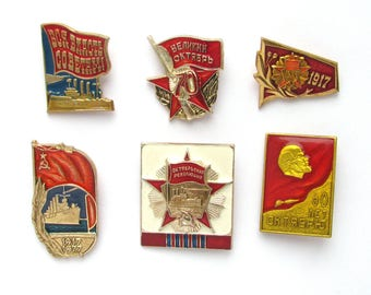 Soviet Badges, Pick from Set, October Revolution, 1917, Communism, Lenin, Rare Vintage collectible badge, Pin, Soviet Union, Made in USSR