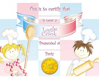 Set of 8 graduation certificates Little Cooks