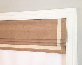 """Valance - Pleated Linen Faux Roman Shade """"Cheval Beige"""", Geometric pattern, Windows Treatment, Ready to made"""