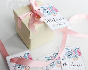 Elegant Cream Favor/Favour Box for Wedding/Party/Bridal Showers with Pink Ribbon and Floral Tag