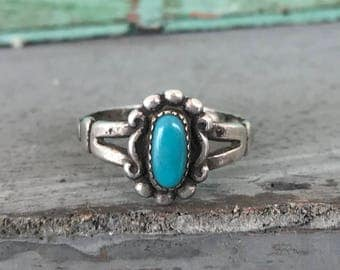 Size 6 Bell Trading Post Sterling Silver Turquoise Ring