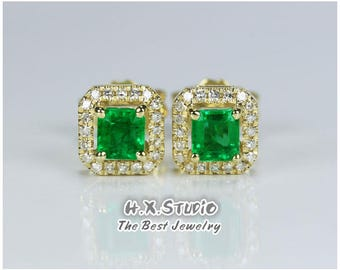 Solid 18k Gold Diamond & Emerald Earrings,Green Emerald Studs,Anniversary/Birthday/Wedding/Valentine/Mother's Day,Gift for Her, Wholesale
