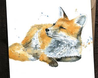 Fox Card, Fox Birthday Card, Fox, British Wildlife, Watercolour Fox Card