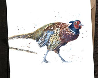 Pheasant Card, Pheasant Birthday Card, Pheasant, Country, British Wildlife, Watercolour Pheasant Card