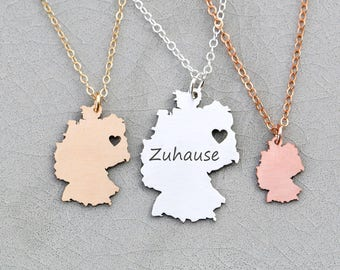 Germany Necklace • Germany Pendant • Germany Charm • Country Charm Necklace • Wanderlust Jewelry Travel Charm • Travel Gift Her