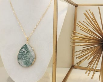 LIMITED EDITION White and Green Agate Geode Oval Pendant Long Gold Necklace