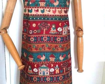 apron retro vintage country chickens beige red Burgundy and bottle Green