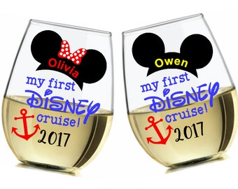 My First Disney Cruise adult wine glass - made to order