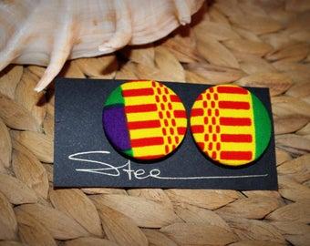 Earrings flea(chip) in African Kente fabric