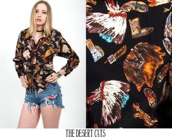vintage 80s blouse 1980s vintage blouse by circle t vintage native american/inuit print blouse vintage western wear blouse