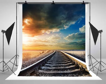 Sunset Railway Wallpaper Photography Backdrops Seamless Photo Backgrounds for Natural Scenery Studio Props