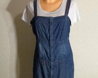 Women Blue Denim Jumper Dress Overall Oversized Large Size
