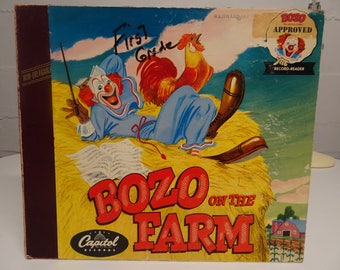 Bozo On The Farm Story Book and Two LP Set,  Free Shipping