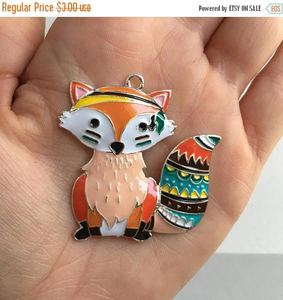 SALE P79 Fox Pendant for Chunky Necklaces