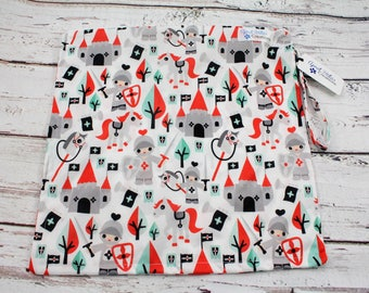 travel bag - everyday bag - wet bag -baby shower gift - diaper bag -nappy bag -cloth diaper wet bag -knights print -small wet bag - swim bag