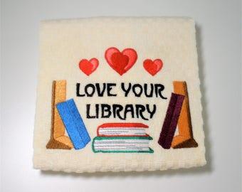 "Book Club Gift, Book Lover Gift, Dish Towel, Book Club Hostess, Birthday, Librarian Gift, Teacher Gift, Reader Gift, Library  ""Library Love"""