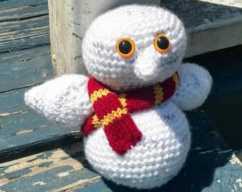 Hedwig Inspired Crochet Snowy Owl in Gryffindor Scarf