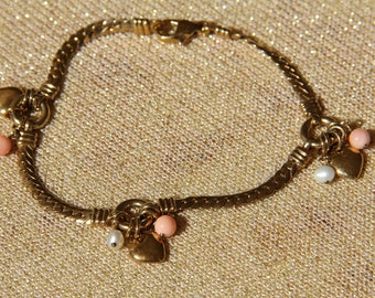 bracelet in gold-plated and genuine pink coral (gift)