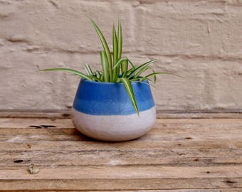 Blue and white planter, handmade ceramic plant pot