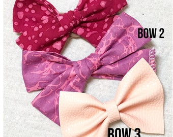 Valentine's Day Bows - pinks - reds - clips - bows - headbands