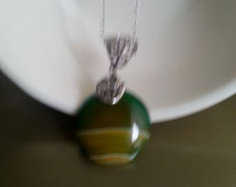 Green Agate Silver plated pendant  necklace