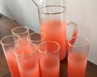MCM Beautiful Coral Color Blendo Pitcher with 6 Tom Collins Glasses