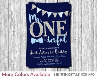 Mr. ONEderful Birthday Invitation | Mr One-derful First Birthday Invitations | Navy Blue and Silver