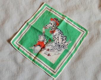 Vintage Child's Handkerchief - Dalmatian Bottle Feeding Pig, 1950s, signed Tom Lamb