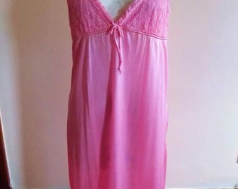 70s Pink Nightgown, Nightie, Sexy, Lace, Satin, Pink, Vanity Fair, Size 36, Womens Vintage Clothing, Vintage Lingerie, Babydoll, Valentines