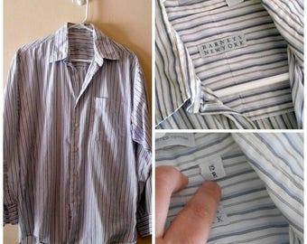 Mens Striped Shirt, 80s Button Down, Mens Vintage Clothing, 1980s Mens Vintage, 80s Mens Vintage, Barneys New York, size 15R