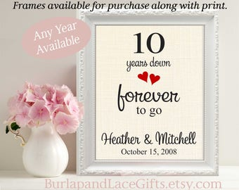 10th Anniversary Gift to Wife Gifts for men Gifts for women Husband Anniversary Gift to Husband Gift for Wife  Ten Years Down Burlap (208)