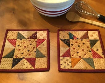 Kitchen Potholders / Patchwork Pot Holders /Quilted Pot Holders / Primitive Decor / Country Decor / Handmade / Farmhouse Decor/ Item #2084