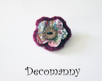 Liberty wool felted flower brooch pink and plum wooden button