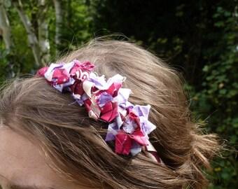 Serre tête fleurs en ruban de tissu