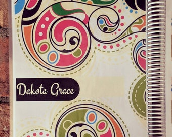 RETRO + SWIRLY: Personalized Monthly or Weekly Planner/Agenda/Organizer, Custom Dates OR Create + Color Journal/Notebook with Custom Pages