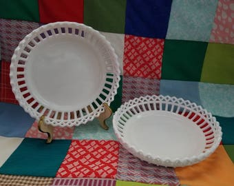 Vintage Doric Lace Milk Glass bowls