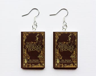 Sherlock Holmes mini book earrings