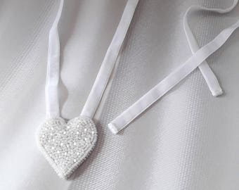 Christmas boho gift Pendant heart her Tiny friend gift idea under 20 Embroidered White Handmade heart necklace her White pendant heart her