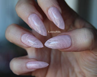 Rose quarz pink marble stiletto false nails! press on nails marble stone crystal effect Set of 20 nails
