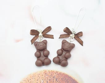 Teddy bear earrings chocolate