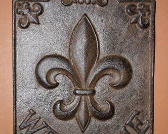 13% OFF 4, Fleur De Lis Welcome Signs, Louisiana Welcome Sign, Saints Front Door Decor, Cast Iron Fleur De Lis Decor, Free Shipping, F-9