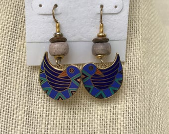 Laurel Burch Blue and Gold Earrings