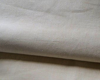 Antique french linen fabric, 1870s