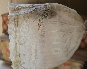 Antique french baby bonnet,silk tulle and embroideries, 1900s